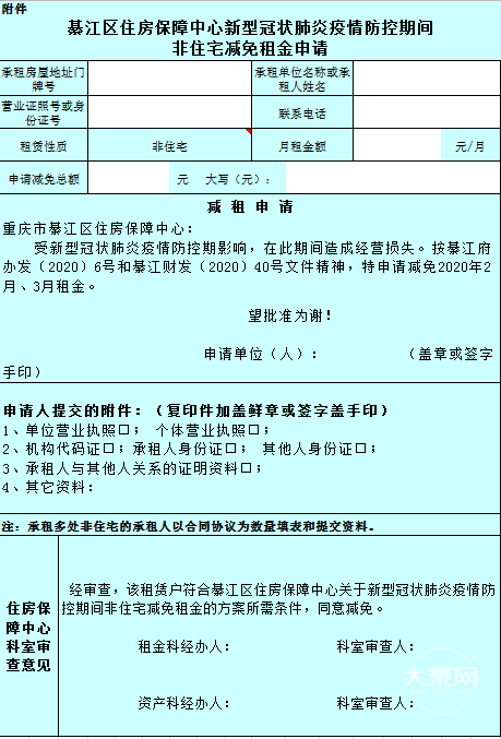 好消息!疫情期间,綦江区减免保障房非住宅租金2个月!!